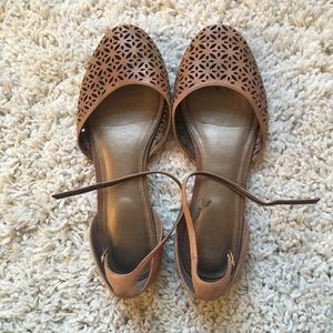 Leather Ankle Strap Flats 8